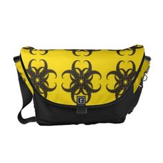 Yellow and Black Tribal Fractal Pattern Courier Bags | Hippie Bag - http://www.hippygiftshop.com/yellow-and-black-tribal-fractal-pattern-courier-bags-hippie-bag/ #bag #hippiebag #bags #hippie #gifts
