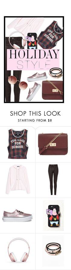 """""""get ready for HOLIDAAY"""" by cnisakamila on Polyvore featuring Filles à papa, Forever 21, MANGO, Topshop, Vans, Beats by Dr. Dre, Pink, maroon and holidaystyle"""