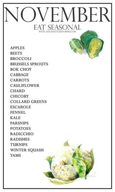 Eat Seasonal Produce Guide for November In Season Produce, Fruit In Season, Healthy Life, Healthy Snacks, Healthy Eating, Healthy Nutrition, Nutrition Chart, Nutrition Month, Healthy Menu