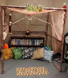 My Reading Hut!! Jungle themed classroom! #3rdgrade #Teacher #lovemyjob