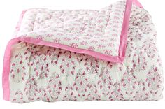 Our reversible toddler quilts are diamond hand quilted and hand block printed on 100% cotton voile. Violet and plum floral motif reverses to light violet booti floral motif. rikshawdesign.com
