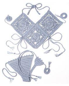 Schat van de Atlantis gehaakte Bikini in Pearl-Grey