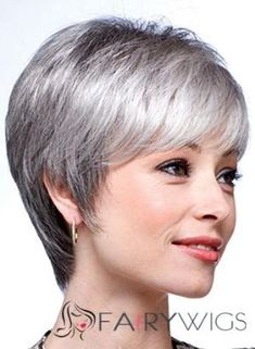 Inexpensive Short Straight Gray 8 Inch Indian Remy Hair Wigs by fairywigs.com