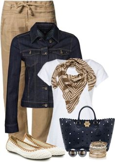 """""""Khaki and Blue"""" cute Friday work outfit. Mode Outfits, Fall Outfits, Casual Outfits, Fashion Outfits, Womens Fashion, Woman Outfits, Office Outfits, Fashion Tips, Work Casual"""