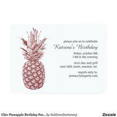 Chic Pineapple Birthday Party Invitation