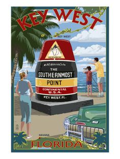 Key West, Florida - Southernmost Point Art Print at AllPosters.com