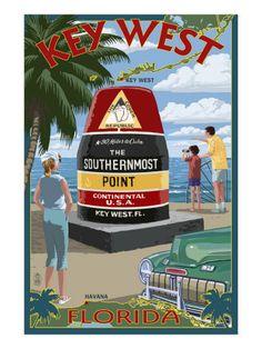 Key West, Florida - Southernmost Point Art Print at AllPosters.com……réepinglé par Maurie Daboux ༺༻⊰✿