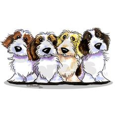 Original art and design by Off-Leash Art featuring 4 PBGV's. Perfect gift for Petit Basset Griffon Vendeen lovers of all ages. More breeds at www.cafepress.com/ahamiltonart.