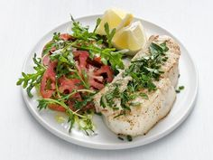 Broiled Halibut with Summer Herbs Recipe : Food Network Kitchen : Food Network Herb Recipes, Pureed Food Recipes, Fish Recipes, Seafood Recipes, Healthy Recipes, Halibut Recipes, Beefsteak Tomato, Fresh Chives