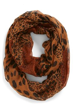 Pair this leopard print infinity scarf with a tank and shorts for a casual summer evening look
