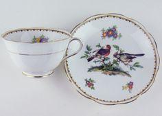 Teacup Saucer Vintage Royal Albert Crown China Birds | eBay