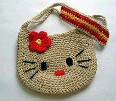 CROCHE COM RECEITA: Bolsinha em crochê hello kitty mudou de cor