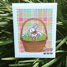 Pretty Pink Posh scalloped rectangle frames, Lawn Fawn perfectly plaid paper , eggstra special Easter stamps, and Impression obsession basket die.
