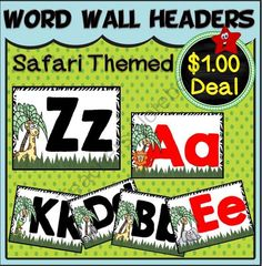 Word Wall Headers Set~ Safari Themed from A Teacher in Paradise on TeachersNotebook.com (8 pages)  - Do you have a safari themed classroom? These would match perfectly with your room décor; a set of word wall headers with both upper and lower case letters A-Z.