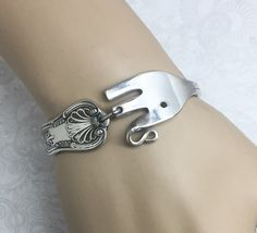 Baby Elephant Fork Bracelet from Vintage Cocktail Fork - Elephant Lovers Gift