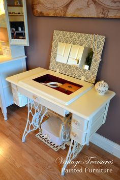 Antique Singer Sewing Machine turned into the Vanity Dressing Table. Hand painted Annie Sloan mix of Old White and Cream colours