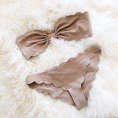 Beige scalloped bikini.