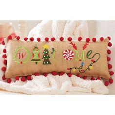 Christmas Welcome Burlap Throw Pillow (Set of 2)