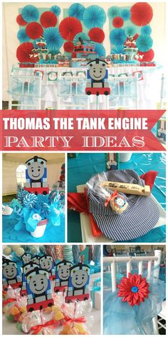 A Thomas the Tank Engine birthday party with a girly touch! See more party ideas at CatchMyParty.com!