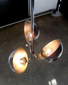 WO AND WÉ COLLECTION: Plafonnier industriel 3 bras articulés 3 arms chandelier adjustable vintage ceiling fixture