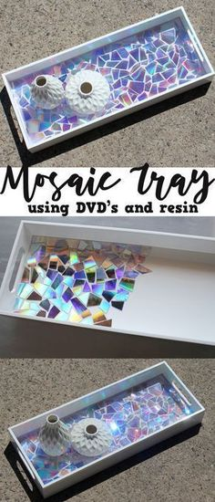 This DVD Mosaic High Gloss Resin Tray makes a statement! Use old DVD's as mosaic… This DVD Mosaic High Gloss Resin Tray makes a statement! Use old DVD's as mosaic tiles and create a stunning work of art sealed with Envirotex Lite High Gloss resin finish. Diy Craft Projects, Diy Home Crafts, Crafts For Kids, Wood Crafts, Recycled Crafts, Old Cd Crafts, Creative Crafts, Fun Diy Projects For Home, Diy Crafts Useful