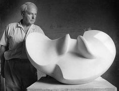 Henry Moore in Italy in 1967  Henry Moore with Divided Oval: Butterfly, 1967 white marble