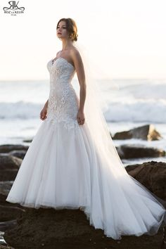 """I LOVE (love) LOVE Roz la Kelin gowns.and this one is especially stunning (ivory/nude) """"OLIVE"""" Ivory Lace Wedding Dress, Lace Mermaid Wedding Dress, Used Wedding Dresses, Bridal Lace, Bridal Gowns, Dress Lace, Strapless Sweetheart Neckline, White Lace, Collection"""