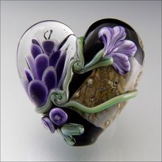 PURPLE HEARTS AND FLOWERS - Lampwork Heart Pendant Bead