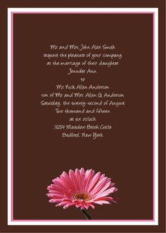 Traditional 5x7 Gerbera Daisy Wedding Invitations. Daisy available in over 160 different colors. #gerber #flower