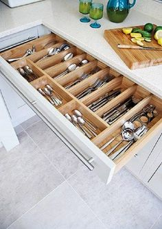 50 Smart DIY Kitchen Storage Solutions For Your Small Kitchen - Image 10 of 20 Kitchen Cabinet Organization, New Kitchen Cabinets, Kitchen Drawers, Kitchen Pantry, Kitchen Decor, Cabinet Ideas, Organized Kitchen, Kitchen Ideas, Cabinet Storage