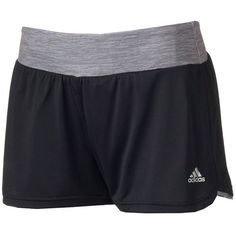 Women's Adidas climalite Grete Mesh Running Shorts ($18) ❤ liked on Polyvore featuring activewear, activewear shorts, black, adidas sportswear, adidas, adidas activewear and logo sportswear