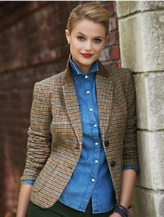 Houndstooth riding blazer, chambray shirt and colored cords - Talbots