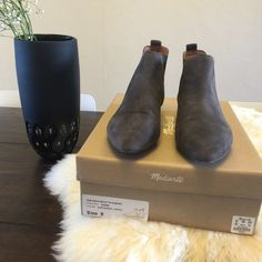 Madewell - Suede Ankle Booties Super cute grey suede booties by Madewell. Flat heel. Love these but have similar pair. Worn once. Super cute with skinny jeans or dresses. I am normally a size 8.5 and these fit perfectly- they run a little big. Madewell Shoes Ankle Boots & Booties