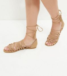 Camel Suedette Ghillie Sandals  | New Look