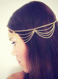 chain headpiece chain headdress head chain headchain original designer gold drape head chain