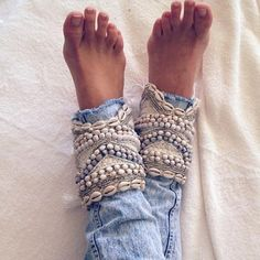 Luxury bulky boho crochet handmade anklets cuffs with shells | Etsy