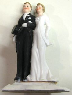"""Vintage Bisque Made in Germany Wedding Cake Topper 4 3/8"""""""