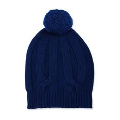Neiman Marcus Knit Wool-Blend Pompom Hat, Blue (3,545 INR) ❤ liked on Polyvore featuring accessories, hats, knit pom hat, pompom hat, slouchy hat, blue hat and knit hat