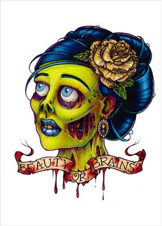 Beauty or Brains Zombie Pinup Tattoo Flash Art Print by Rebekart, $5.00