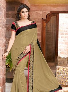 Party Wear Brown Saree In Georgette . Shop at - http://www.gravity-fashion.com/women/saree/party-wear-sarees/party-wear-brown-saree-in-georgette.html