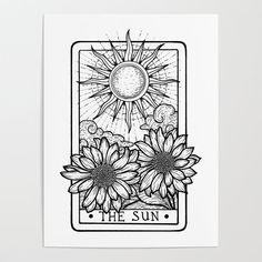 The Sun Tarot Card Art Print by stratlacyart Tattoo Sketches, Tattoo Drawings, The Sun Tarot Card, Tarot Card Tattoo, Card Drawing, Sun Drawing, Tatuagem Old School, Future Tattoos, Tarot Cards