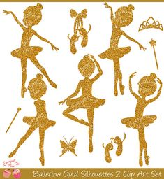 Gold Ballerina Silhouettes 2 Clipart Set by 1EverythingNice