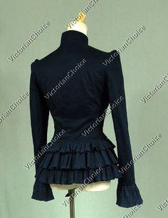 Gothic Victorian Women Jacket Blazer Riding Habit Steampunk Clothing NAVY C032