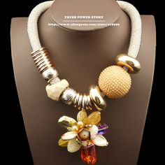 2014 Bijouterie Big Crystal & Stone Flowers Pendants Beads Chain Gold Fashion Statement Chokers Chunky Necklace
