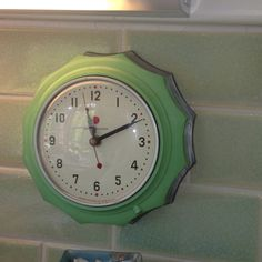 jadeite green kitchen clock by GE c.1940s - I have this in ocean blue - anyone want to trade for the jadeite model?