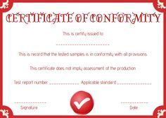 Supplier Certificate Of Conformance Templates  Certificate Of