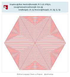 Graphics@{Red,NestList[Rotate[#,Pi/3,{0,8Pi}]&,Line@Flatten[CirclePoints[#,3]&/@Join[Range[1,25,2],Reverse@Range[1,25,2]],1],5]}