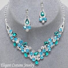 Malibu Blue Crystal Formal Prom Necklace Set Elegant Jewelry #7540 $20.99 www.ElegantCostumeJewelry.com