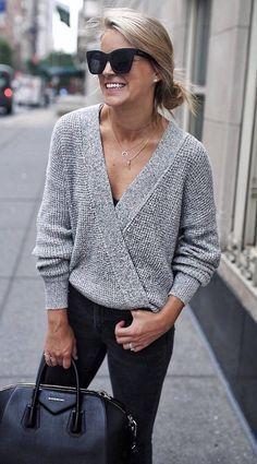 sweater + skinny jeans + bag
