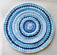 Crochet Place Mat,in Mandala Design Pattern use as Table Topper Doily  made with Blue White Yarn